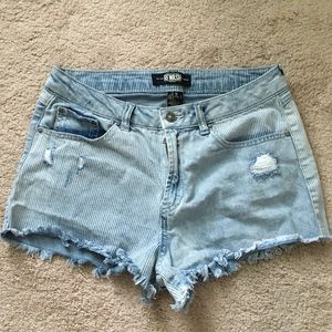 Stripped High Rise Denim Mini Shorts